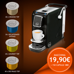 Macchina ALEX PLUS BLACK €19,90 + kit 150 capsule