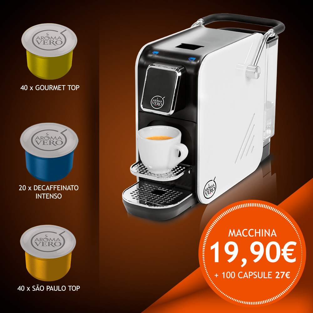 Macchina da caffè ALEX WHITE PLUS + pack 100 capsule