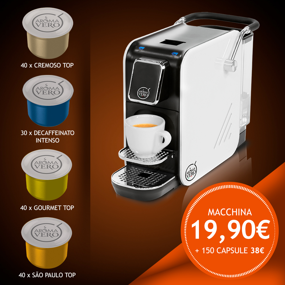 Macchina da caffè ALEX WHITE PLUS + pack 150 capsule