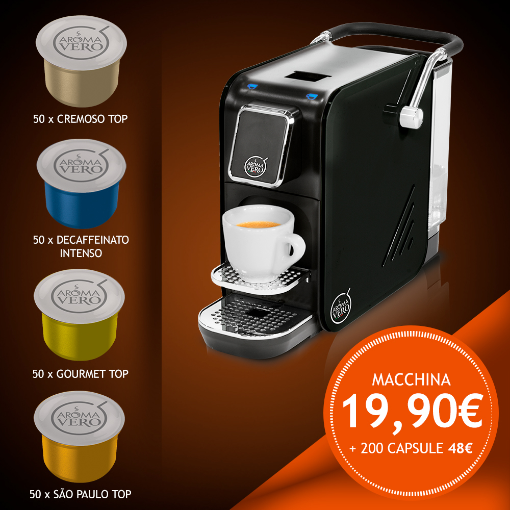 Macchina da caffè ALEX BLACK PLUS + pack 200 capsule